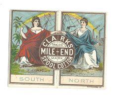 1/ 1881 Trade Card Calendar Clark's Mile End Spool Cotton Thread Women North South