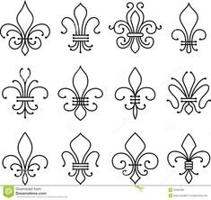 charleston symbols fleur de lys | Stock Vector: Fleur de lys scroll elements symbol