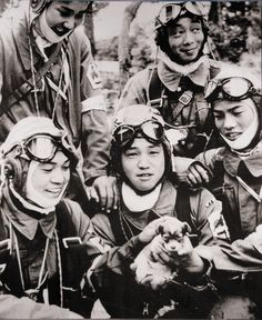 Members of 72nd Shinbu Squadron. Three of the five are 17 years old and the other two are 18 and 19 years old. The photo was taken the day before their mission.