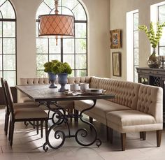 Artisan's Shoppe Dining 7 Pc Rect Table, Banquette, French Chairs by Kincaid Furniture