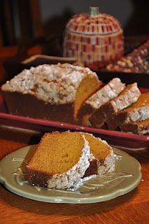 Melt-in-Your-Mouth Pumpkin Bread 1 1/4 cups oil 5 eggs 2 cups pumpkin 2 cups flour 2 cups sugar 2 pkg. cook-and-serve vanilla pudding (small boxes) 1 tsp salt 1 tsp soda 1 tsp cinnamon Blend oil, eggs and pumpkin. Combine other ingredients and add to pumpkin mixture. Sprinkle and lightly pat on the crumb topping (see recipe below). Bake in 2 greased/floured loaf pans at 325° for 1 hour. Lightly dust with powder sugar after bread has cooled. Crumb Topping: 1/2 cup flour, 1/4 cup