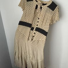 Nanette Lepore 100% Silk 1940s Polka Dot Dress Size eight but I was so in love with it I had it altered to fit me. Loose fit on a size 2. 100% silk, gorgeous vintage style. Beautiful details. After being in NY for awhile I've converted to a uniform of black- too many special occasion outfits and I want to downsize for a move! Help me find her a good home! ❤️ this item needs dry cleaning! Please let me know if you want me to take care of it (price subject to change) or if you would like to…