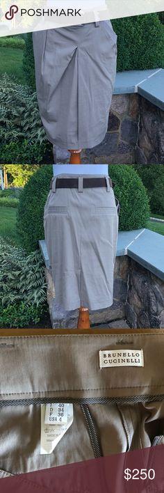 Brunello Cucinelli Skirt Khaki Brunello Cucinelli Skirt with Belt.  Size 4. Like New Brunello Cucinelli Skirts