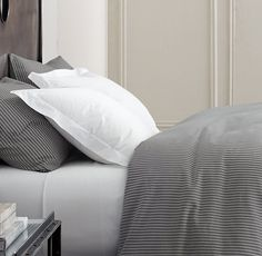 Garment-Dyed Ticking Stripe Bedding Collection...maybe its a little boring but it feels clean
