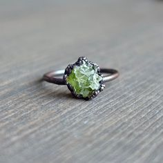 Raw peridot ring  Raw ring  Raw crystal ring  by HeartHouseStudio