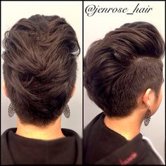 Women's faux hawk with shaved sides. Shorts women's hair cut. Short pixie style cut.