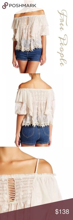 """Free People """"Spirit in the Sky"""" Blouse Absolutely stunning Blouse by Free People in 100% cotton with nylon lace trim features a flirty ruffled off the shoulder neckline and all over Embroidered sheer design come together for a totally romantic look. Elbow length sleeves, detachable shoulder straps. Approx 29"""" length Bust:36"""", waist:25"""", hips:37"""" Free People Tops Blouses"""