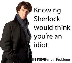 It's true. T_T  But honestly, if he belittled me too much, I would probably start shouting at him, and then we'd just have a big shouting match and then storm off to cool our tempers.  Then John would talk sense into Sherlock and he would come to me and begrudgingly apologize in his reluctant way and I'd casually accept and then a strange but wonderful friendship would begin.  But nothing as wonderful as his friendship with John of course.  Some things are sacred. :P