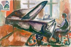 Edvard Munch, Al gran piano, 1916-7. Óleo sobre lienzo, 67 x 100 cm, Museo Munch, Oslo
