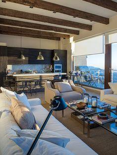 living y cocina de ana dominguez en la parva White Wood, My Dream Home, My House, Beach House, Sweet Home, New Homes, Dining Table, Ski Chalet, Lofts