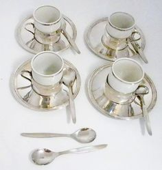 Porcelain Espresso Cups with silver plate holder, saucer, spoon, Made in Brazil, Vintage