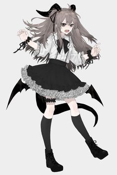 Cute Anime Character, Cute Characters, Anime Characters, Character Art, Anime Angel, Anime Demon, Manga Girl, Anime Girl Neko, Gothic Anime