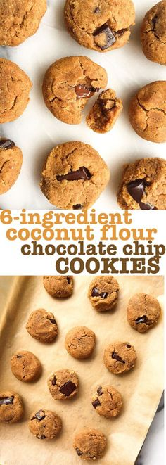 6-ingredient Coconut Flour Chocolate Chip Cookies that are grain, gluten and dairy-free!