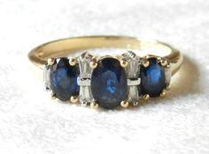 Vintage French Designer Alwand Vahan 2 Cttw Sapphire Engagement Ring, Blue Sapphire & Diamond 3 Stone Ring 14K Gold on Etsy, $589.00