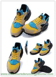 best service 94443 8034c meilleur chaussure running Jaune   Bleu   Noir 3188429-305 Nike Air Huarache