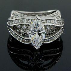 3.43 ct VVS1 Marquise Cut Solitaire w/ Accent Engagement Ring+Black Diamond #Diamantjewels #SolitairewithSideAccent