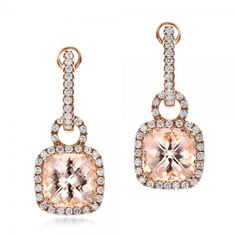 Antique Cushion Morganite and Diamond Halo Earrings | Joseph Jewelry | Bellevue | Seattle | Online | Design Your Own Earrings