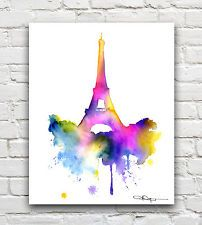 Eiffel+Tower+Watercolor | Eiffel Tower Abstract Paris Watercolor Painting Art Print by Artist DJ ...