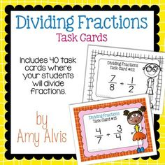 Dividing Fractions - Task Cards - SCOOT, $ Dividing Fractions, Math Task Cards, Recording Sheets, Percents, Cover Pages, School Stuff, Miniature, Key, Storage