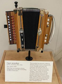 Cajun accordion, 2009, made by noted accordion-maker and musician Marc Savoy of Eunice, Louisiana. This one is on display at the Musical Instrument Museum in Phoenix, Arizona.