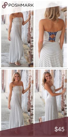 "Infinity Raine striped hi-low strapless maxi dress 🆕COMING SOON🎉NWT Infinity Raine gray and white striped hi-lo strapless maxi dress with bow back detail. 95% Rayon, 5% Spandex...same super soft material as the incredible Infinity Raine leggings!! 1 left in each size, S M L. Bust size: S-14"" M-15"" L-16"".                  Length (front/back): S-40/46"" M-41/47"" L-42/48"". Just because it's fall doesn't mean dresses are out...this will keep you warm and easily pairs with a cardigan or jean…"