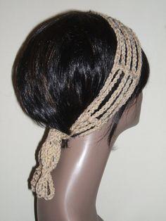 Crochet Gipsy Rasta Hair Wrap Headband in Beige by MonetCreations, $8.99