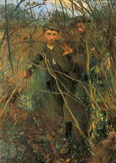 """""""The Gap in the Hedge"""" (1900) by George Clausen"""