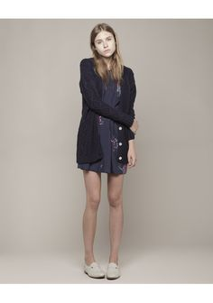Girl by Band of Outsiders / Cableknit Cardigan and floral dress