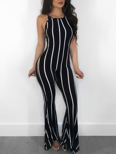 Striped Halter Backless Flared Jumpsuit
