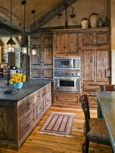 Rustic Kitchen Ideas - Rustic kitchen cabinet is an attractive combination of nation home as well as farmhouse decoration. Surf 30 ideas of rustic kitchen design right here Farmhouse Kitchen Cabinets, Modern Farmhouse Kitchens, Cool Kitchens, Rustic Farmhouse, Rustic Cabinets, Kitchen Backsplash, Farmhouse Style, Rustic Backsplash, Country Kitchens