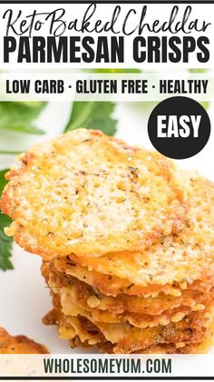 Baked Cheddar Parmesan Crisps Recipe Baked Cheddar Parmesan Crisps Recipe – Want to know how to make parmesan crisps and cheddar cheese chips? This keto cheese chips recipe will show you both! Quick & easy, with just 5 minutes prep. Parmesan Cheese Crisps, Keto Cheese Chips, Parmesan Chips, Cheddar Cheese Recipes, Cheesy Recipes, Low Carb Recipes, Cooking Recipes, Free Recipes, Low Carb Appetizers