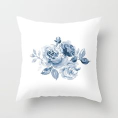 Throw Pillow made from 100% spun polyester poplin fabric, a stylish statement that will liven up any room. Individually cut and sewn by hand, each pillow features a double-sided print and is finished with a concealed zipper for ease of care.  Sold with or without faux down pillow insert. #rosepillow #classic #blueandwhite #homedecor #homedecorideas #pillowcovers #bluepillowcover #roses