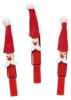 Santa Clothespin Kits, would be cute to attach to ribbon and use as christmas card hangers/holders.