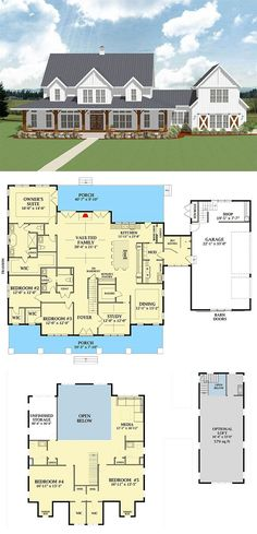 Most Popular Farmhouse Plans - Blueprints, layouts and details of the best farmh.Most Popular Farmhouse Plans - Blueprints, layouts and details of the best farmhouses on the market. Building your dream home in the country? Country House Plans, Dream House Plans, Small House Plans, Dream Houses, House Design Plans, Log Houses, House In The Country, 5 Bedroom House Plans, Modern Farmhouse Plans