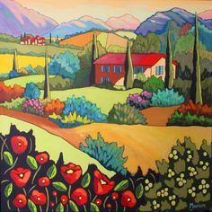 This not an embroidery pattern or kit but a beautiful painting by the same artist that Trish Burr converted a landscape of into the miniature needle painting on this board. Vallons de Provence by Louise Marion - Louise Marion, artiste peintre, paysage urbain, Quebec, couleurs