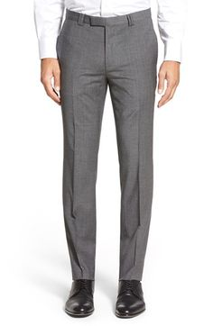 Men's HUGO Flat Front Houndstooth Wool Blend Trousers