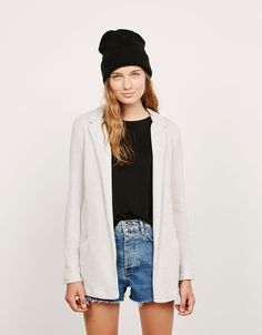 Cotton blazer with pockets - Coats and jackets - Bershka United Kingdom