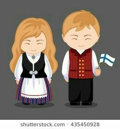 Finns in national dress with a flag. A man and a woman in traditional costume. Travel to Finland. Vector illustration: compre este vector en Shutterstock y encuentre otras imágenes.