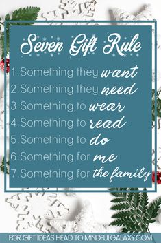 Find out what the 7 Gift Rule for Christmas is, and how you do it. Plus get some awesome gift ideas for each of the 7 gift rules! Christmas On A Budget, Christmas Gifts For Kids, Little Christmas, Family Christmas, Christmas Shopping, All Things Christmas, Winter Christmas, Holiday Fun, Christmas Holidays