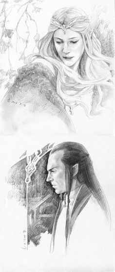 Lord Elrond and lady Galadriel. Art by Awake999