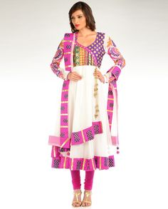 White Kalidar Suit with Multicolored Yoke