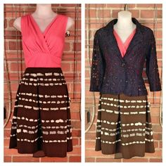Ann Taylor coral top S $10; Monteau navy blue lace blazer S $20; Simply Vera brown beige grey skirt 6 $10