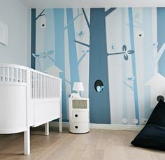 white wall with blues for the trees..... When I have a grand baby this is how I'm painting his room!!