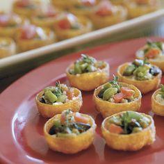 Ideas for hors d'oeuvres - Bruschetta-Goat Cheese Cups- http://www.myrecipes.com/recipe/bruschetta-goat-cheese-cups-10000001152926/