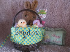 Made by @Carmen Wilson, Carmen's Custom Creations Your choice of two different sized baskets, white or brown, and your choice of fonts, fabric, and embroidery thread....make the perfect Custom Easter Basket for a gift that will last forever!!! $30.00