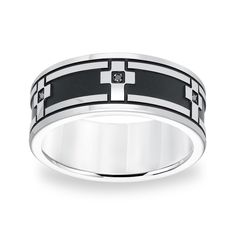 Cambridge Stainless Steel Black Diamond Accent Cross Ring (Size 11), Women's, Two-Tone