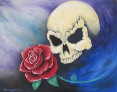 """This particular Skull is an Oil Painting that I did Titled """"Seeing Red""""."""