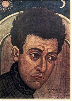 """ΦΩΤΗΣ ΚΟΝΤΟΓΛΟΥ: """"Αυτοπροσωπογραφία""""  Τοιχογραφία Συλλογή Κ. Μπαστιά """"Η παρούσα ζωγραφία εφιλοτεχνήθη όπως εν σχήμασι γραπτοίς διαμένη πρό τών ομμάτων εις αιώνα ο κύκλος τής ελληνικής φυλής, από τών πρώτων αυτής προπατόρων μέχρι τών καθ' ημάς…Εζωγραφήθη δέ μετά πόθου καί φιλοτιμίας πολλής φαντασία καί χειρί Φωτίου Κόντογλου τού εκ Κυδωνιών τής Μικράς Ασίας"""" Classical Period, Classical Art, Video Artist, Artist Art, Greek Paintings, Hellenistic Period, Greek Art, Orthodox Icons, Artist Gallery"""