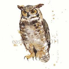 OWL Art Print, cute owl, brown owl, gift for the log cabin lover, teacher gift Watercolor Paintings Of Animals, Owl Watercolor, Animal Paintings, Fox Art, Bird Art, Great Horned Owl, Owl Print, Cute Owl, Painting For Kids