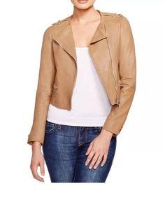 $998 Joie Odina Camel Leather Jacket Camel Brown Size M Cropped Moto Classic | eBay